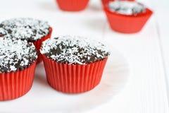 Σπιτικά cupcakes με το λούστρο και την καρύδα σοκολάτας Στοκ φωτογραφίες με δικαίωμα ελεύθερης χρήσης