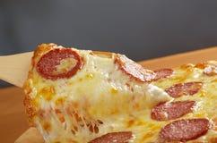 Σπιτικά Pepperoni πιτσών στοκ εικόνα με δικαίωμα ελεύθερης χρήσης
