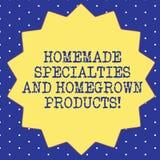Σπιτικές ειδικότητες κειμένων γραφής και Homegrown προϊόντα Έννοια που σημαίνει τα υγιή φρέσκα ειδικά πιάτα δεκατέσσερα 14 διανυσματική απεικόνιση