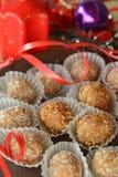 Σπιτικές τρούφες σοκολάτας με το επιδόρπιο Χριστουγέννων καρυδιών Στοκ Εικόνα