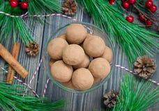 Σπιτικές τρούφες σοκολάτα-καραμέλας στο γυαλί Στοκ εικόνες με δικαίωμα ελεύθερης χρήσης