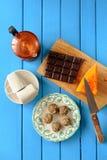 Σπιτικές χορτοφάγες τρούφες με την κολοκύθα, σοκολάτα, coffeemake Στοκ Εικόνες