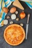 Σπιτική γαστρονομική πίτα με το τυρί, τα κρεμμύδια και τα αυγά Εκλεκτικό foc Στοκ Φωτογραφία