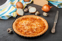 Σπιτική γαστρονομική πίτα με το τυρί, τα κρεμμύδια και τα αυγά Στοκ φωτογραφία με δικαίωμα ελεύθερης χρήσης