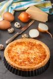 Σπιτική γαστρονομική πίτα με το τυρί, τα κρεμμύδια και τα αυγά Στοκ Εικόνες