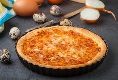 Σπιτική γαστρονομική πίτα με το τυρί, τα κρεμμύδια και τα αυγά Στοκ φωτογραφίες με δικαίωμα ελεύθερης χρήσης