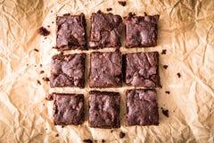 Σπιτική εύγευστη σοκολάτα Brownies Κέικ σοκολάτας κινηματογραφήσεων σε πρώτο πλάνο στοκ εικόνα