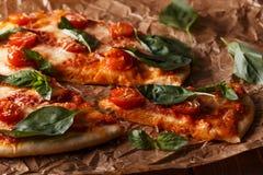 Σπιτική ιταλική πίτσα με τη μοτσαρέλα, τις ντομάτες και την άδεια βασιλικού Στοκ φωτογραφία με δικαίωμα ελεύθερης χρήσης
