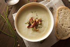 Σπιτική κρεμώδης σούπα πατατών και πράσων Στοκ φωτογραφία με δικαίωμα ελεύθερης χρήσης