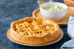 Σπιτική νέα πίτα λάχανων από τη λεπιοειδή ζύμη που εξυπηρετείται σε ένα πιάτο Στοκ Εικόνα
