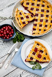 σπιτική πίτα κερασιών Στοκ Εικόνες