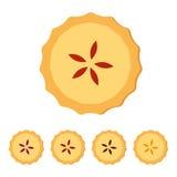 Σπιτική πίτα με τη διαφορετική πλήρωση φρούτων Επίπεδη διανυσματική απεικόνιση που απομονώνεται στο άσπρο υπόβαθρο Τοπ όψη απεικόνιση αποθεμάτων