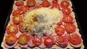 Σπιτική πίτσα δύο τύπους λουκάνικων, που προετοιμάζονται με για το ψήσιμο στοκ εικόνες με δικαίωμα ελεύθερης χρήσης