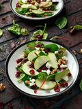 Σπιτική σαλάτα των βακκίνιων της Apple φθινοπώρου με το ξύλο καρυδιάς, το τυρί φέτας και τα λαχανικά Στοκ εικόνα με δικαίωμα ελεύθερης χρήσης