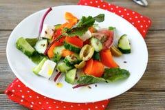 Σπιτική σαλάτα με τα αγγούρια Στοκ εικόνα με δικαίωμα ελεύθερης χρήσης