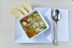 Σπιτική σούπα 3 νουντλς κοτόπουλου Στοκ Φωτογραφία