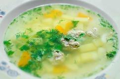 Σπιτική σούπα πατατών με τα πράσινα τρόφιμα υγιή στοκ φωτογραφία