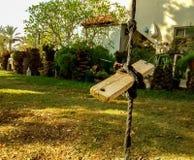 Σπιτική ταλάντευση στάσεων φιαγμένη από σχοινί και ξύλινη επιτροπή, στο μπάλωμα του γ Στοκ φωτογραφία με δικαίωμα ελεύθερης χρήσης