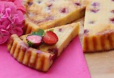 σπιτική φράουλα κέικ Τυρί εξοχικών σπιτιών ξινό με τις φρέσκες φράουλες Fruity πίτα Κλείστε επάνω την όψη στοκ φωτογραφία