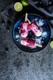 Σπιτικοί βακκίνιο, βατόμουρο και ασβέστης popsicles Στοκ φωτογραφία με δικαίωμα ελεύθερης χρήσης