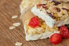 Σπιτικοί φραγμοί granola με τα ξηρά μούρα στοκ εικόνα