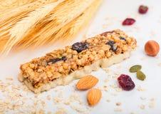 Σπιτικός οργανικός φραγμός δημητριακών granola με τα καρύδια και ξηρός - φρούτα στο άσπρο υπόβαθρο με τις βρώμες και τον ακατέργα στοκ εικόνες με δικαίωμα ελεύθερης χρήσης