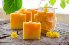 Σπιτικό βοτανικό σαπούνι πορτοκαλιών και πικραλίδων Στοκ Εικόνες