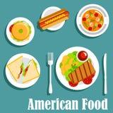 Σπιτικό γεύμα του αμερικανικού επίπεδου εικονιδίου κουζίνας Ελεύθερη απεικόνιση δικαιώματος