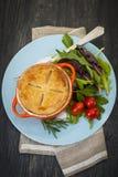 Σπιτικό γεύμα potpie με τη σαλάτα Στοκ Φωτογραφίες