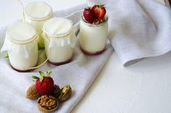 Σπιτικό γιαούρτι με τις φρέσκες φράουλες Τα συστατικά για ένα υγιές πρόγευμα είναι μισά των φραουλών, των ξύλων καρυδιάς και του  στοκ εικόνα