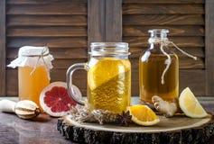 Σπιτικό ζυμωνομμένο ακατέργαστο τσάι kombucha με τις διαφορετικές αρωματικές ουσίες Υγιές φυσικό probiotic αρωματικό ποτό διάστημ Στοκ Εικόνα