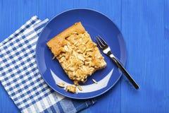 Σπιτικό κέικ μήλων στο μπλε πιάτο Στοκ Εικόνες