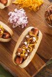 Σπιτικό καυτό σκυλί τσίλι με το τυρί τυριού Cheddar Στοκ εικόνες με δικαίωμα ελεύθερης χρήσης