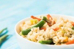Σπιτικό κινεζικό τηγανισμένο ρύζι με τα λαχανικά στοκ εικόνα με δικαίωμα ελεύθερης χρήσης