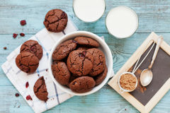 Σπιτικό μπισκότο ή μπισκότο τσιπ σοκολάτας με τα τα βακκίνια και το γάλα σε σκόνη Στοκ εικόνες με δικαίωμα ελεύθερης χρήσης