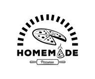 Σπιτικό λογότυπο pizzeria με το φούρνο Στοκ Εικόνες