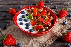 Σπιτικό πρόγευμα granola με τα μούρα γιαουρτιού και νωπών καρπών υγιεινή διατροφή εννοιών στοκ φωτογραφίες με δικαίωμα ελεύθερης χρήσης
