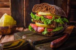 Σπιτικό σάντουιτς με το σολομό και λεμόνι στο σκοτεινό ξύλινο υπόβαθρο Εκλεκτική εστίαση Έννοια πικ-νίκ Στοκ Εικόνες