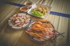 Σπιτικό σύνολο μεσημεριανού γεύματος θαλασσινών Στοκ εικόνα με δικαίωμα ελεύθερης χρήσης