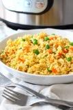 Σπιτικό τηγανισμένο ρύζι που γίνεται στο στιγμιαίο δοχείο Στοκ Εικόνες