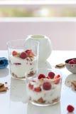 Σπιτικό υγιές επιδόρπιο σε ένα γυαλί με το γιαούρτι, τους νωπούς καρπούς και τα μπισκότα για το πρόγευμα Στοκ φωτογραφία με δικαίωμα ελεύθερης χρήσης