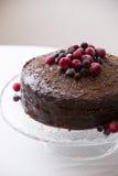 Σπιτικό φρέσκο κέικ γενεθλίων σοκολάτας με τα οργανικά παγωμένα μούρα και τα τσιπ στην κορυφή Πιάτο κρυστάλλου με ένα συμπαθητικό Στοκ φωτογραφίες με δικαίωμα ελεύθερης χρήσης