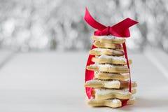 Σπιτικό ψημένο χριστουγεννιάτικο δέντρο από τα μπισκότα αστεριών ζάχαρης Στοκ εικόνα με δικαίωμα ελεύθερης χρήσης