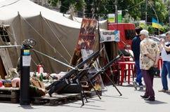 Σπιτικό όπλο διαμαρτυρομένων - κονιάματα με το υγρό μίγμα, Maidan, Κίεβο Στοκ Φωτογραφίες