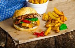 Σπιτικό burger τσίλι με τα εγχώρια πικάντικα τηγανητά Στοκ Εικόνες