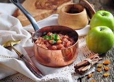 Σπιτικό chutney μήλων με τις σταφίδες, την κανέλα, το τσίλι και άλλα καρυκεύματα Στοκ Εικόνες