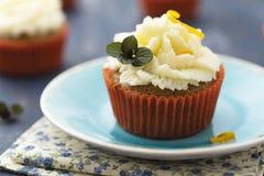 Σπιτικό cupcake με το πορτοκάλι και τη μέντα στοκ φωτογραφία με δικαίωμα ελεύθερης χρήσης