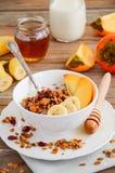 Σπιτικό granola με τα καρύδια και τα ξηρά τα βακκίνια Στοκ Εικόνες