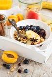 Σπιτικό granola με τα aplles και την κανέλα Στοκ φωτογραφία με δικαίωμα ελεύθερης χρήσης