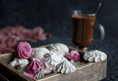 Σπιτικό zephyr βανίλιας και σμέουρων, εύγευστα ρόδινα και άσπρα marshmallows Στοκ φωτογραφίες με δικαίωμα ελεύθερης χρήσης